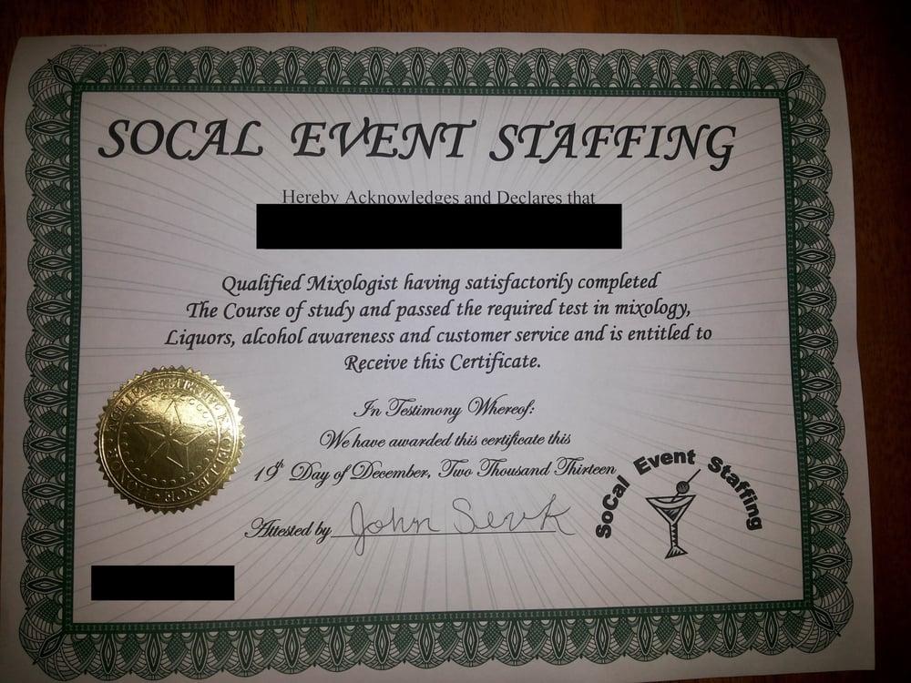 Socal Event Staffing Bartenders 14761 Carmenita Rd Norwalk Ca