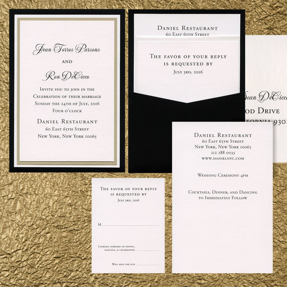 Three layer paper pocket wedding invitation with white and gold leaf ...