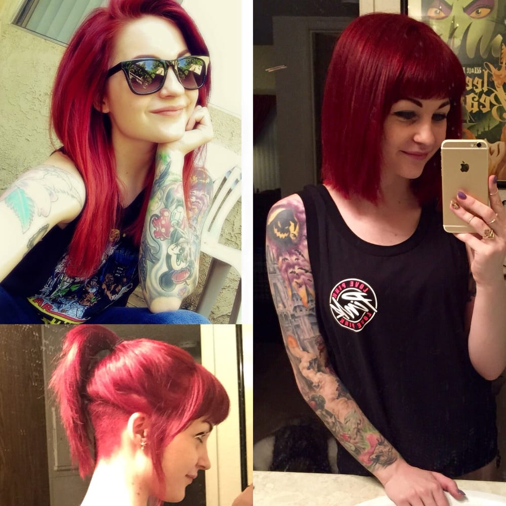 Long mermaid hair to a short bob with bangs and an undercut