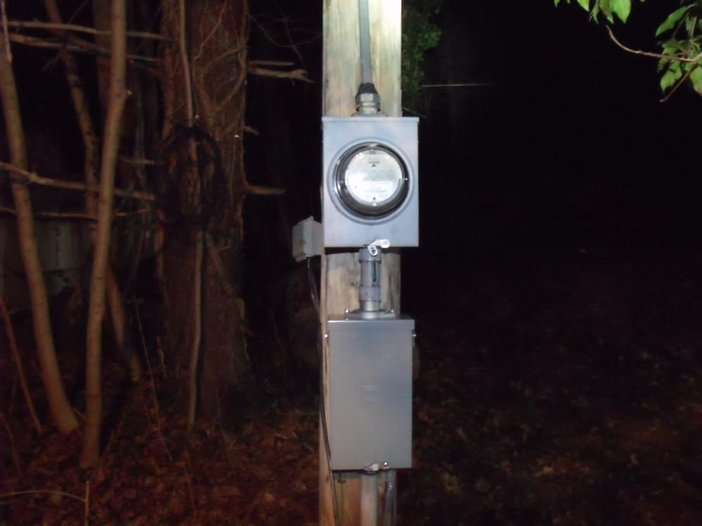 New Service Pole    Telephone Pole Install With Meter And 100 Amp Main Breaker Service Panel