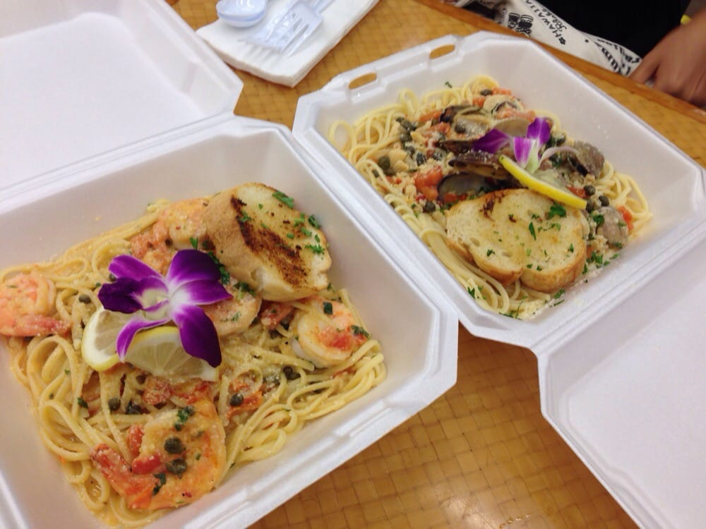 Shrimp scampi and clam linguine just pastas yelp for Blue water fish market