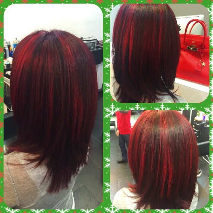 Deep Red With Bright Red Highlights By Stylist Kevin Yelp