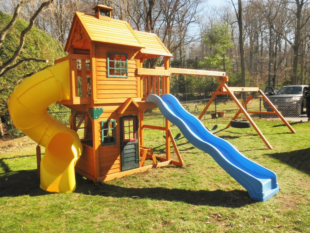 Swing Set With Blue And Yellow Tube Slide Yelp