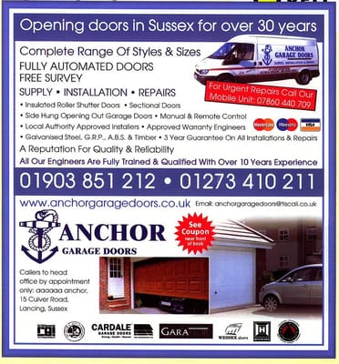 Anchor Garage Doors Garage Door Services 15 Culver Road Lancing