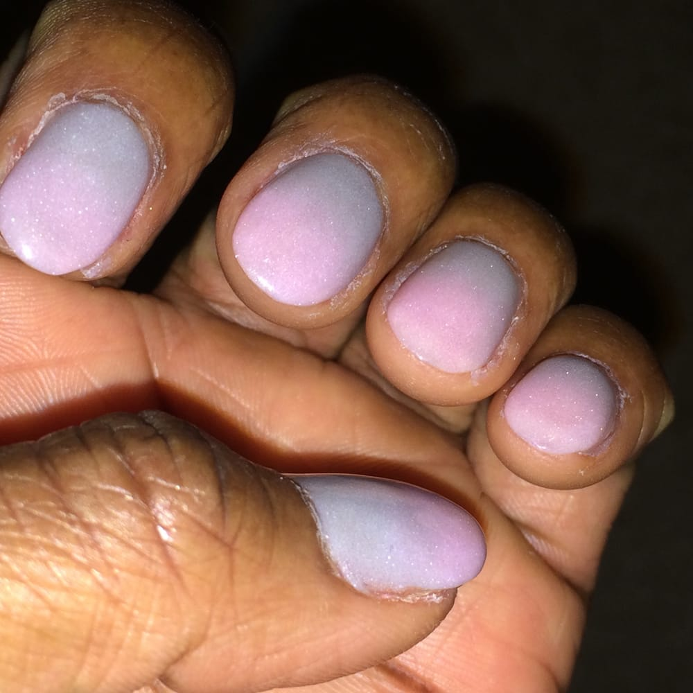 SNS Powder Gel with ombré effect using pale pink and grey by Lee at ...