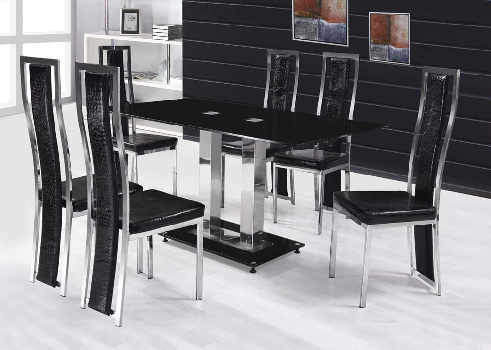 contemporary modern dining set with glass table top dallas arlington