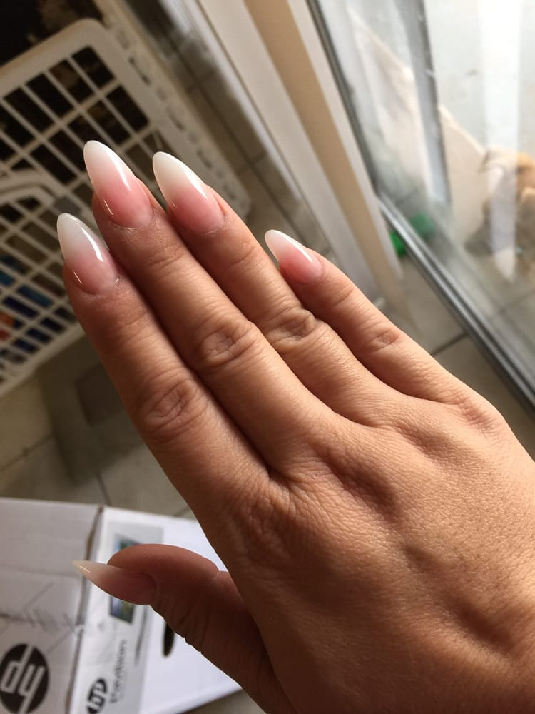 French fade sculptured almond shaped nails by Kat! Love them! - Yelp