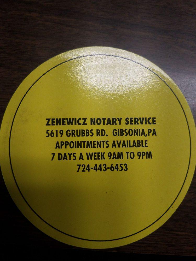 Zenewicz Notary Service: 5619 Grubbs Rd, Gibsonia, PA