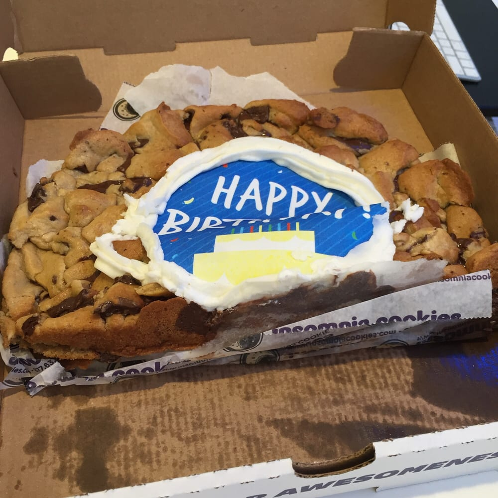 insomnia cookie cake thanks a lot insomnia my birthday cake came like this yelp 5161