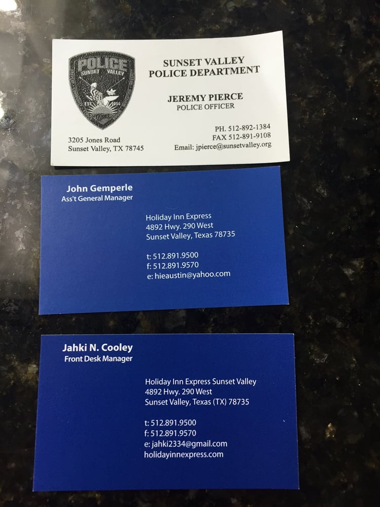 The arresting officers business card as well as the shady hotel photo of holiday inn express suites austin sw sunset valley sunset valley colourmoves