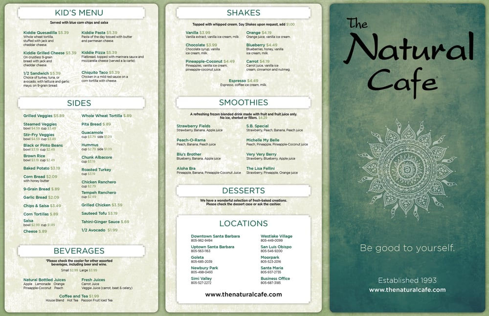 Natural Cafe Santa Barbara Menu