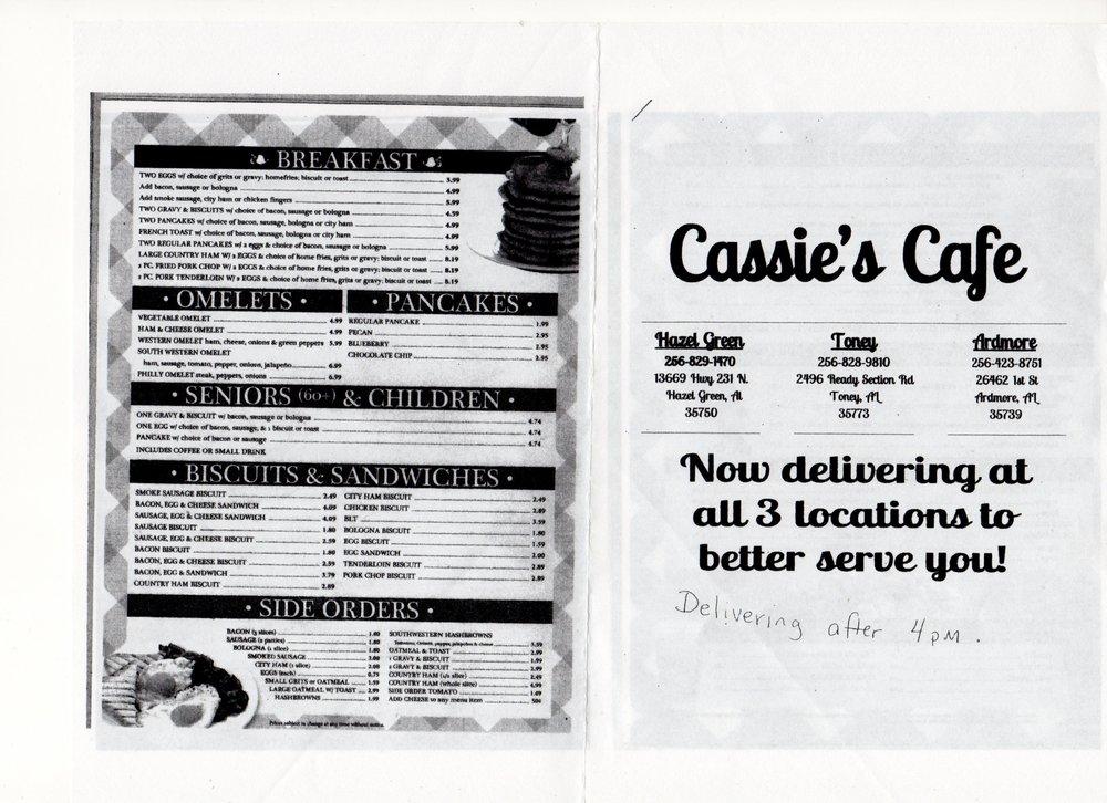 Cassie's Cafe: 26462 1st St, Ardmore, AL