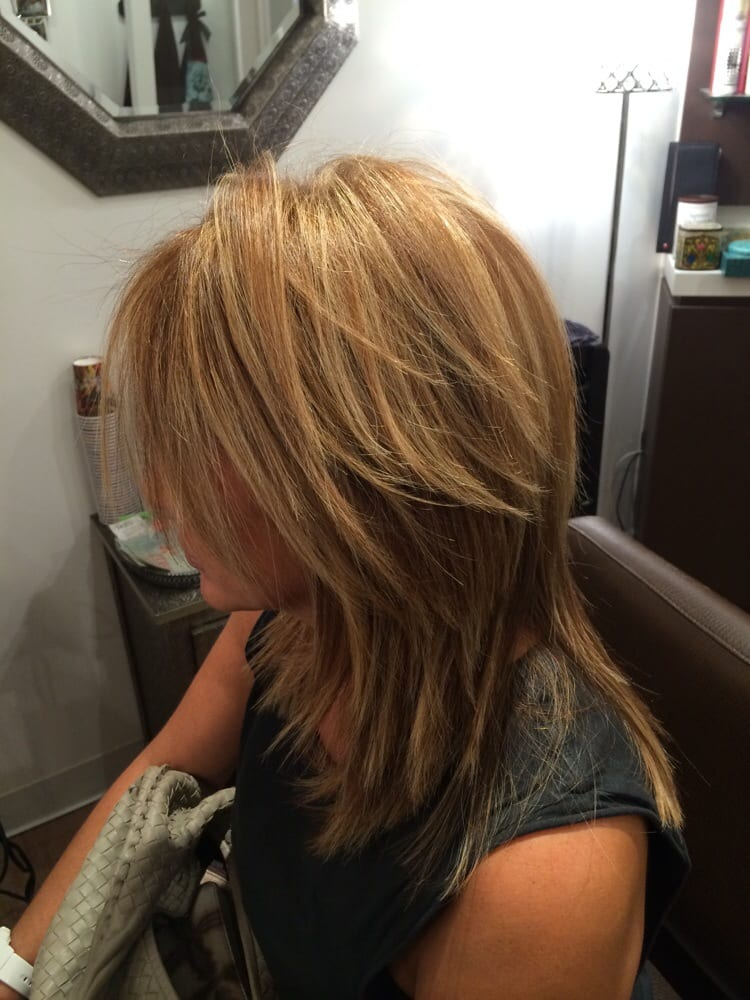 Honey Coloured Roots With Blonde Highlights Edgy Cut With Lots Of
