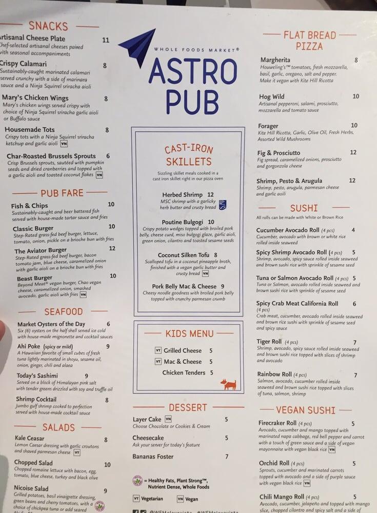 Astro pub menu yelp for Bar food la menu