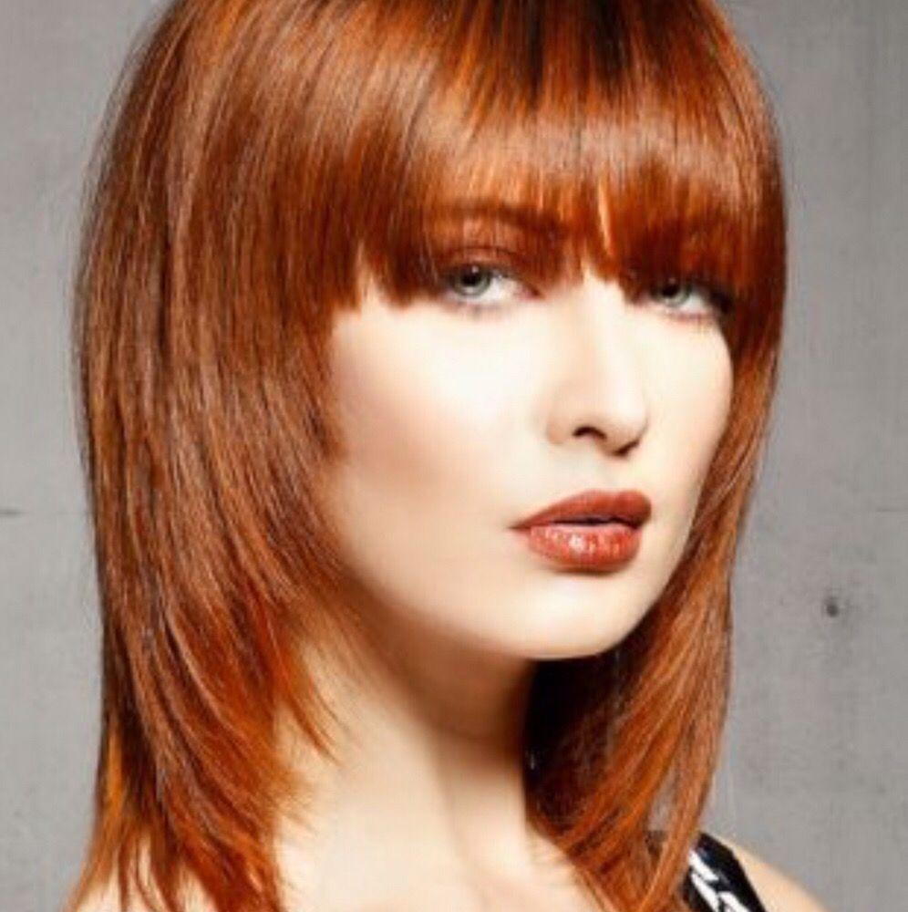 Colour Copper Red~ shoulder length layered hair cut fringe face ...