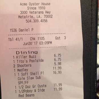 Acme Oyster House Drink Menu