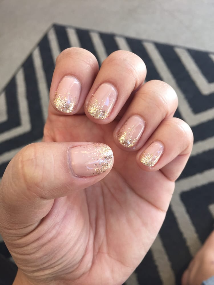 nude gel polish with rose gold fitter ombré - Yelp