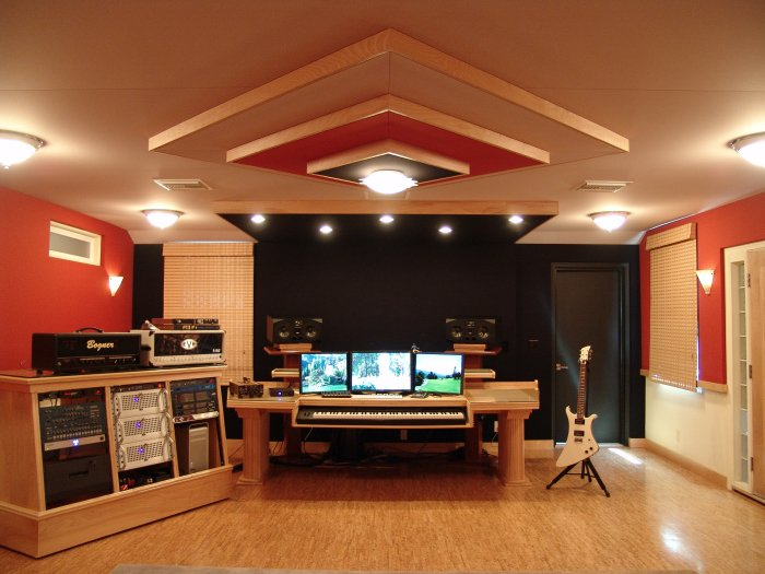 Control Room Furniture Property composer room with stretched fabric wall, custom ceiling cloud