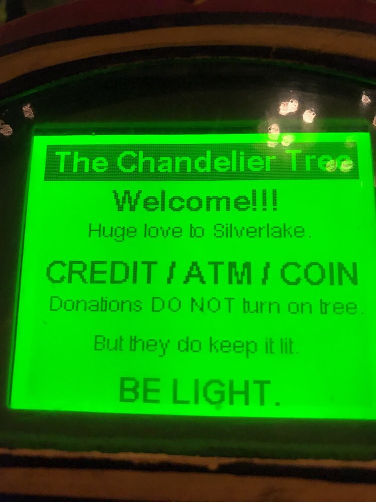 The Chandelier Tree The Parking Meter Donations. Quarters, ATMs ...
