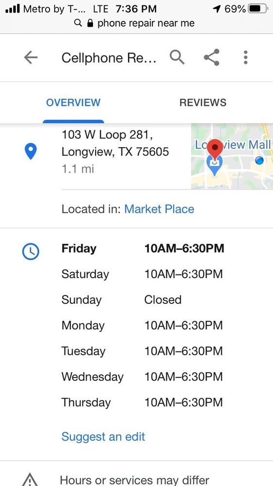Cell Phone Repair Center: 103 W Loop 281, Longview, TX