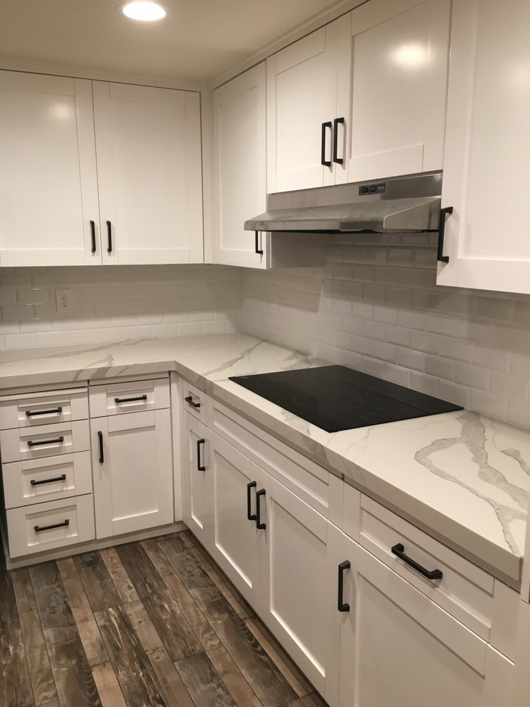 Bright White Beveled Subway Tile Backsplash Yelp