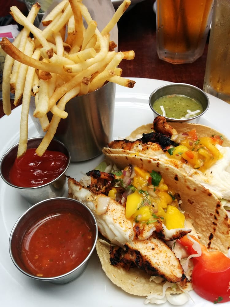 Blackened fish tacos with shoestring fries yelp for Rock n fish manhattan beach