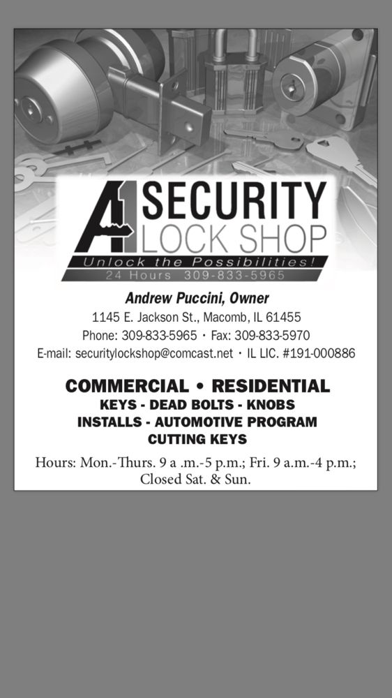 A-1 Security Lock Shop: 1145 E Jackson St, Macomb, IL