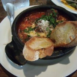 ... wood-fired roasted meatballs with swiss chard & tomato-prociutto brodo