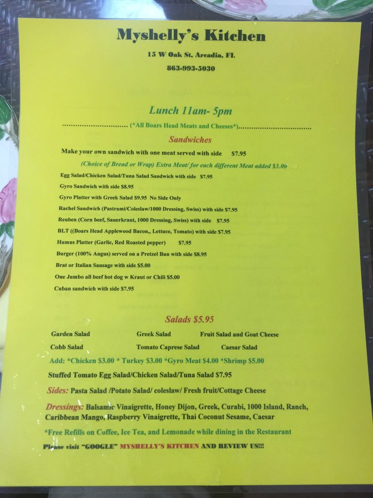 Myshelly's Kitchen: 15 West Oak St, Arcadia, FL