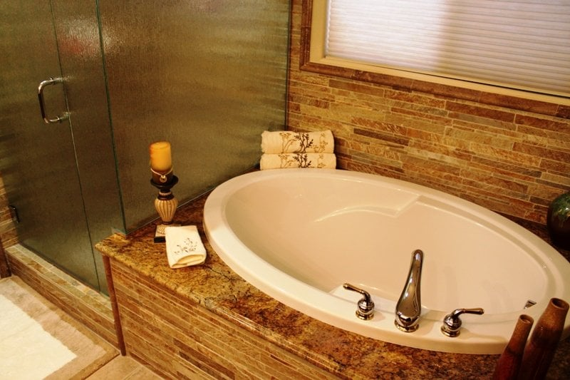 This bathroom remodel included a new tub and beautiful for Las vegas bathroom remodeling companies