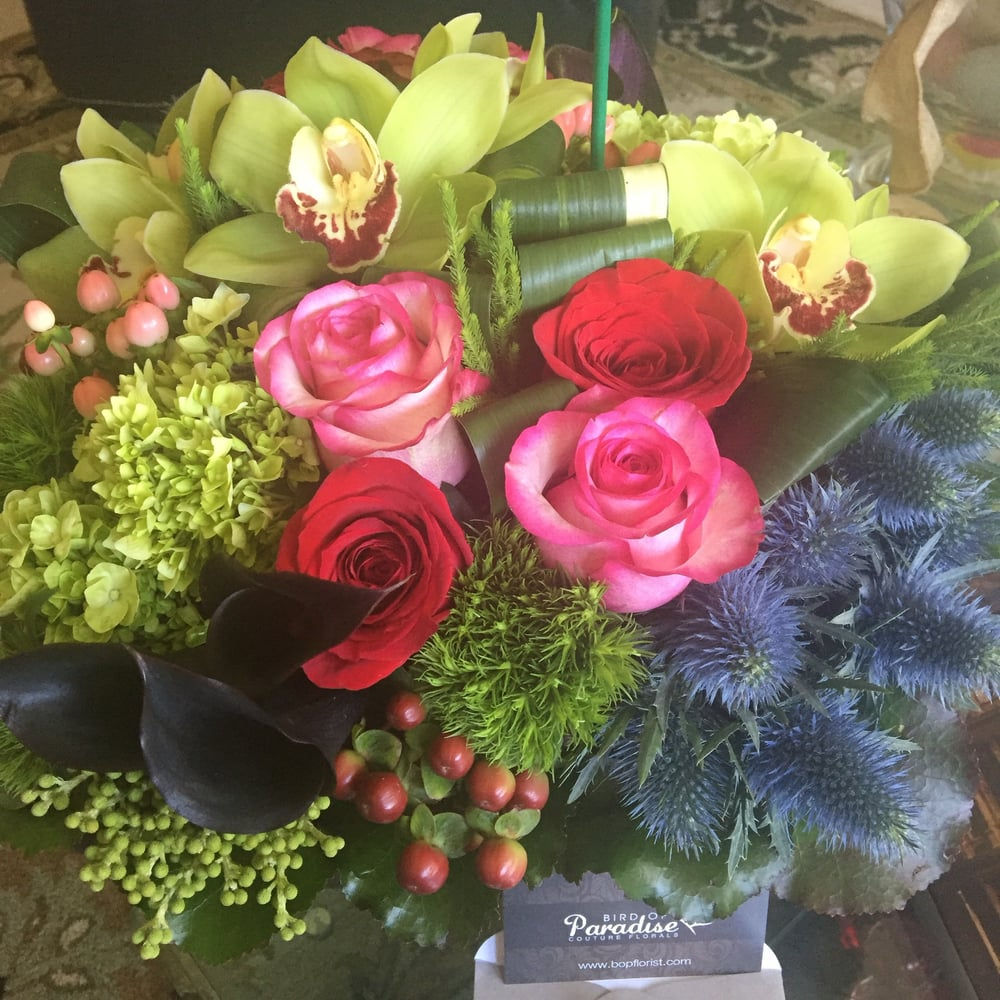 My birthday flower surprise from my sister in portland absolutely photo of bird of paradise couture florals irvine ca united states my izmirmasajfo
