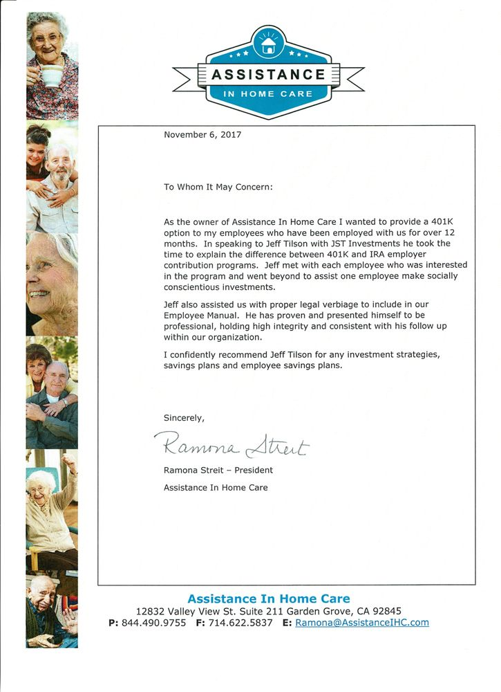 photo of jst investment consulting seal beach ca united states recommendation letter