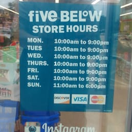 five below hours on sunday
