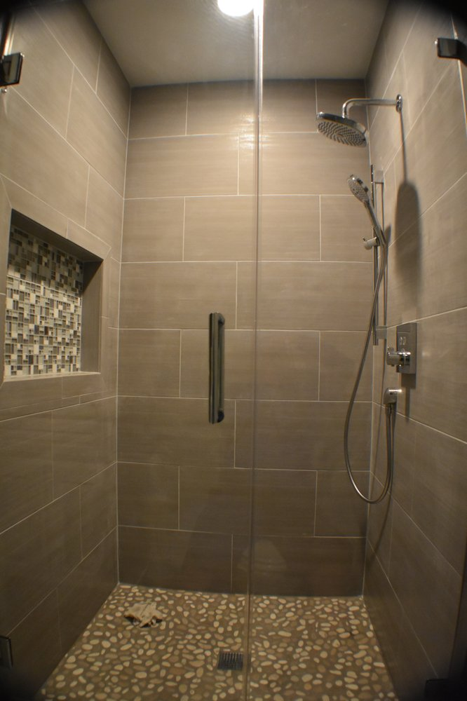 new shower with large soap box and glass door - Yelp