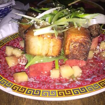 ... New York, NY, United States. Crispy pork belly and watermelon salad