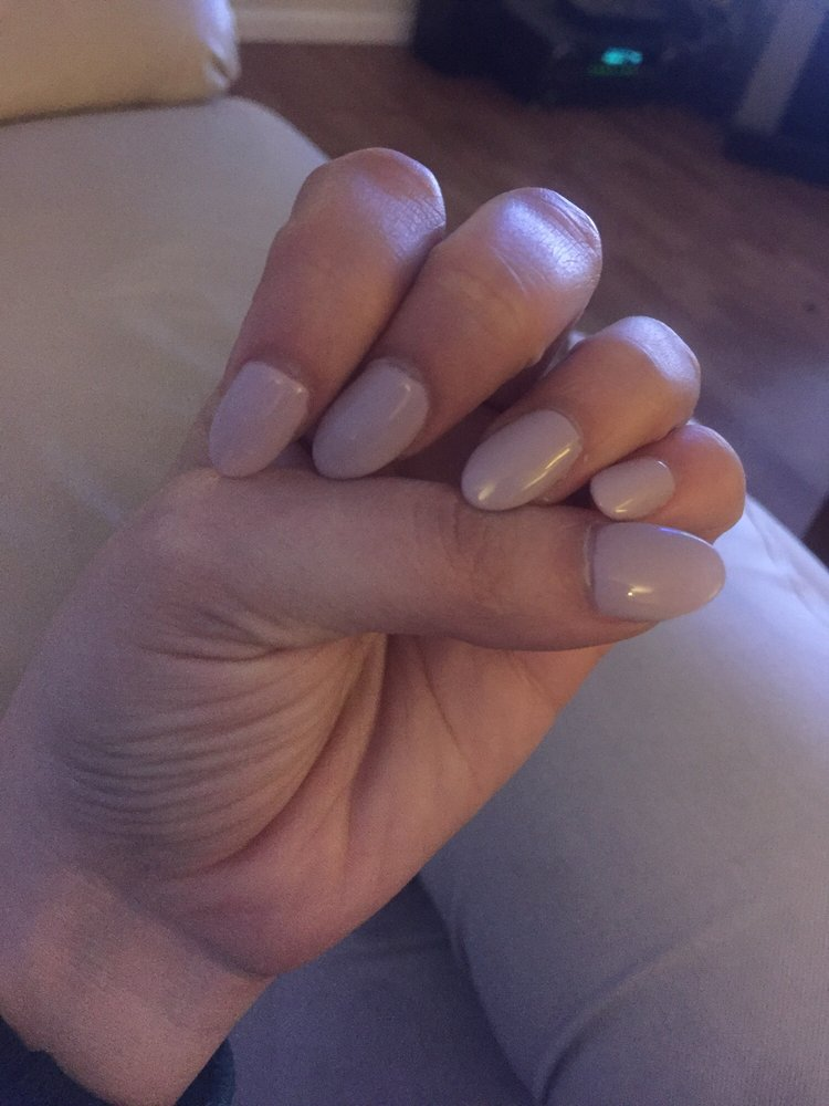 Almond shaped neutral color fall nail. Excuse the quality of picture ...