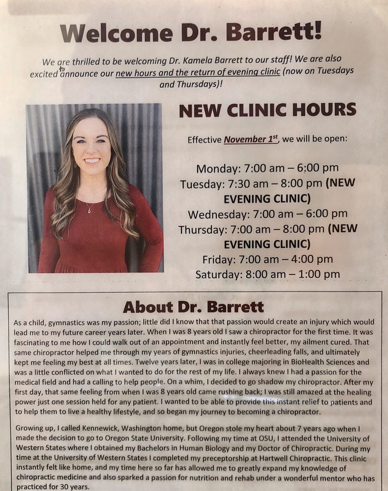 Hartwell Chiropractic & Wellness Center: 170 NW 2nd Ave, Canby, OR
