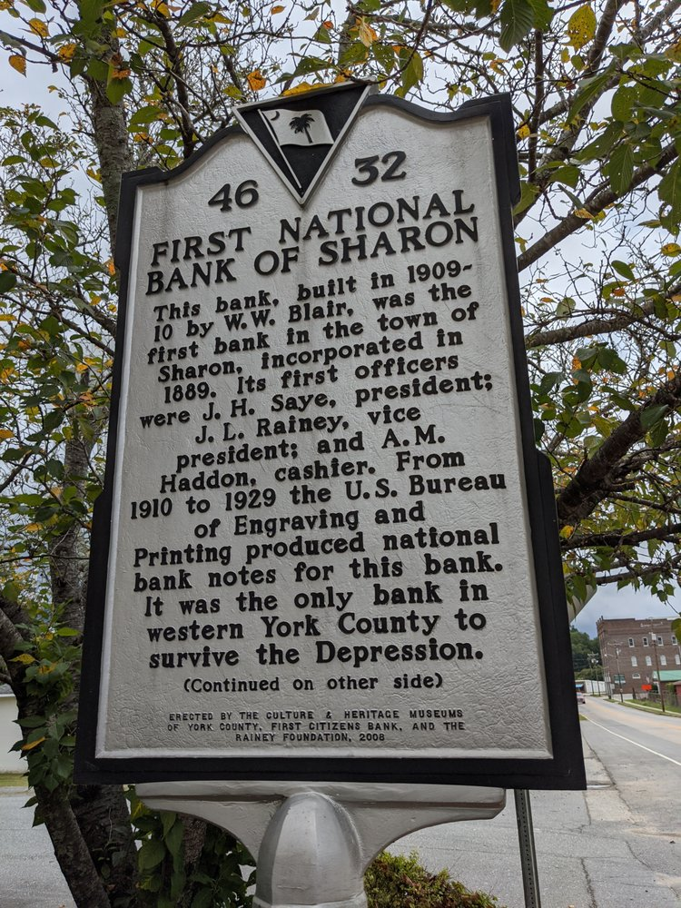 First National Bank of Sharon Historical Marker: 4028 Woodlawn St, Sharon, SC