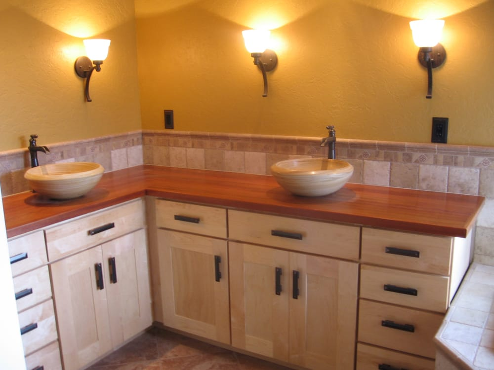 Maple bath cabinets with brazilian cherry countertops yelp for Bathroom cabinets yelp