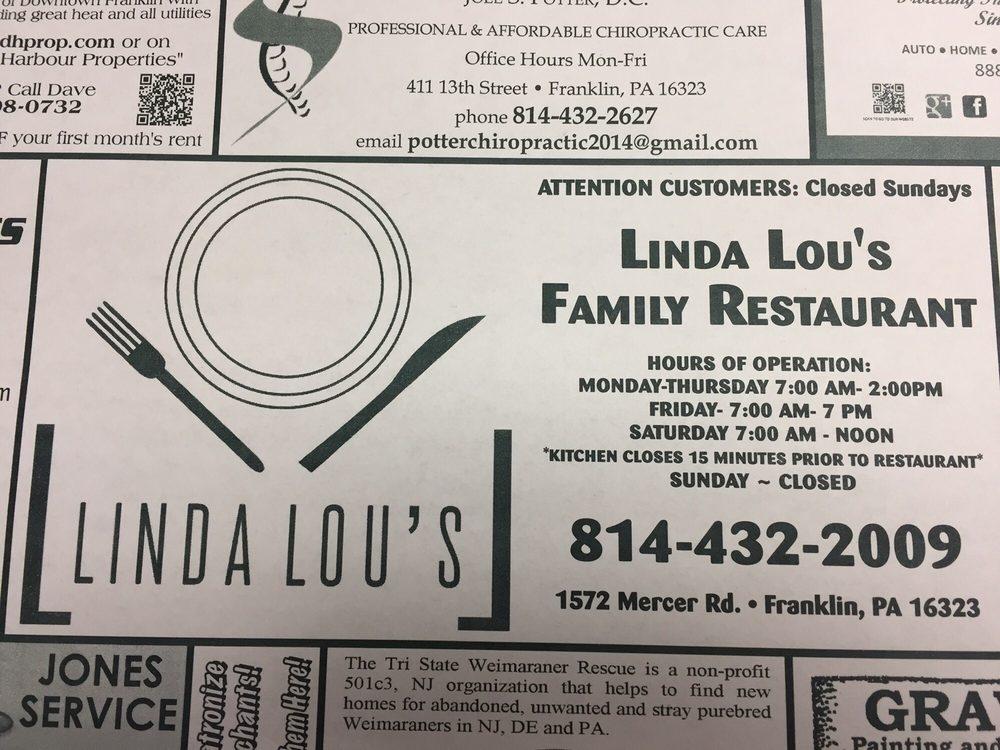 Linda Lou's Family Restaurant: 1572 Mercer Rd, Franklin, PA