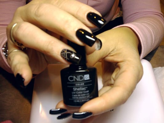 Shellac over acrylic nails with Halloween nail art | Yelp