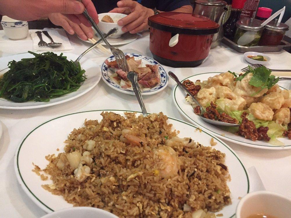 Special fried rice, honey walnut shrimp, crispy pork, Asian spinach