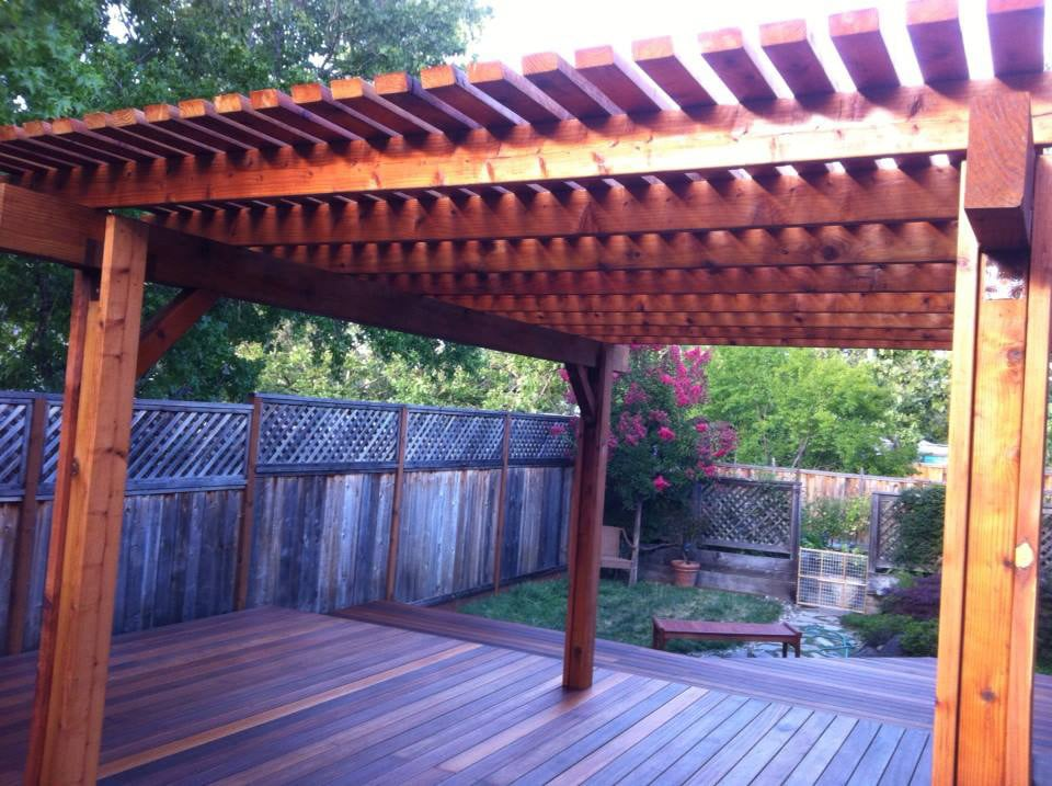 Exotic Hardwood Batu Deck With Redwood Patio Cover Yelp