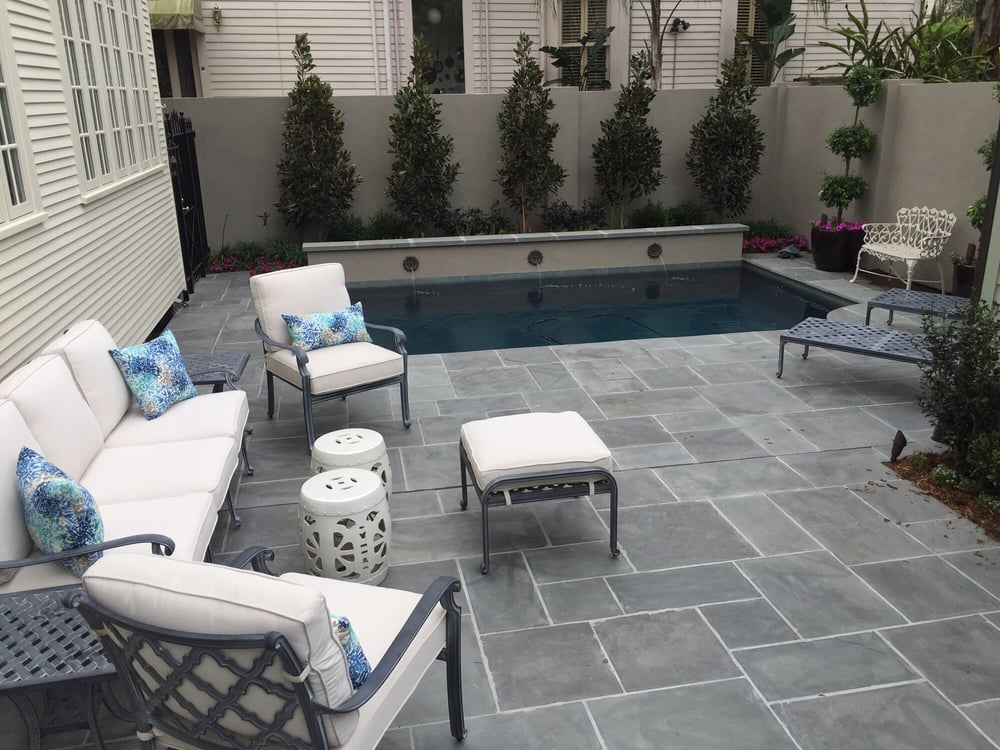 Natural Flagstone Courtyard Stucco Pool And Landscaping In Uptown