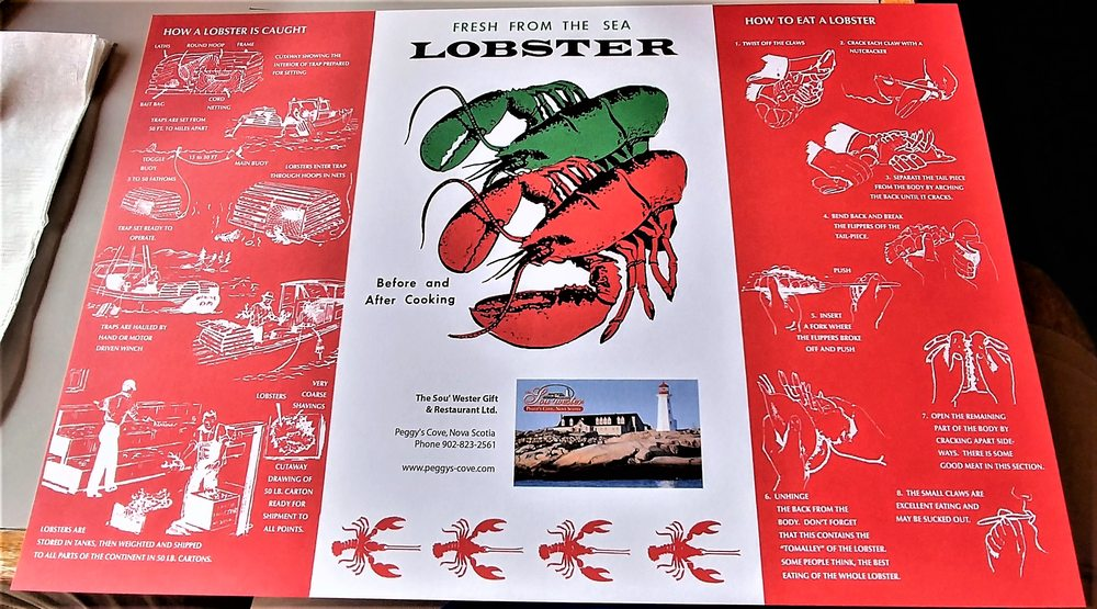 This is on the table which shows how lobster is caught and how to photo of the souwester restaurant and gift shop halifax ns canada negle Choice Image