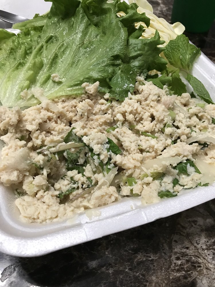 This is not laarb...this is boiled chicken that came out of a ...