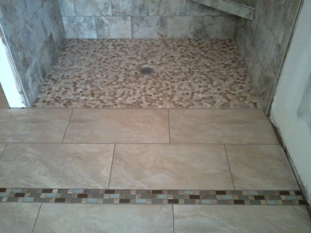 12 X 24 Porcelain Floor Meets Rock Shower Pan Yelp