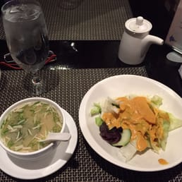 Kumo Japanese Restaurant - Pearl River, NY, United States. Miso soup and salad