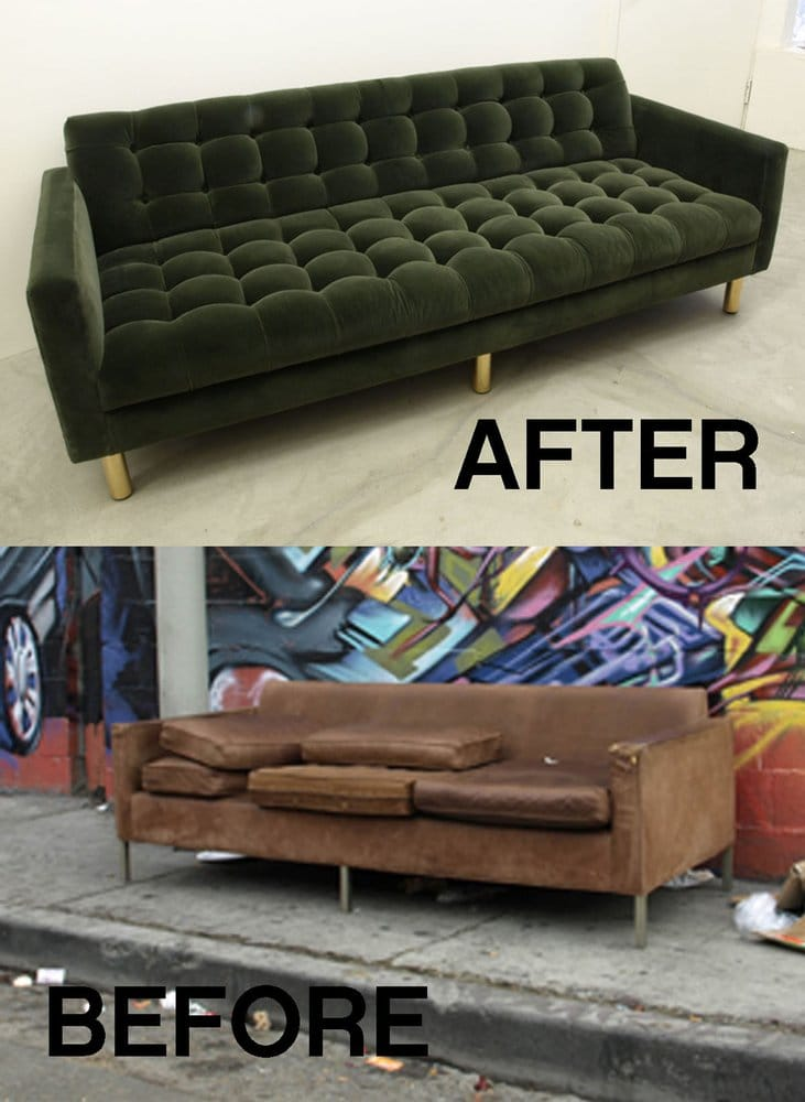 Street sofa upcycle project an award winner yelp for Sofa upcycling