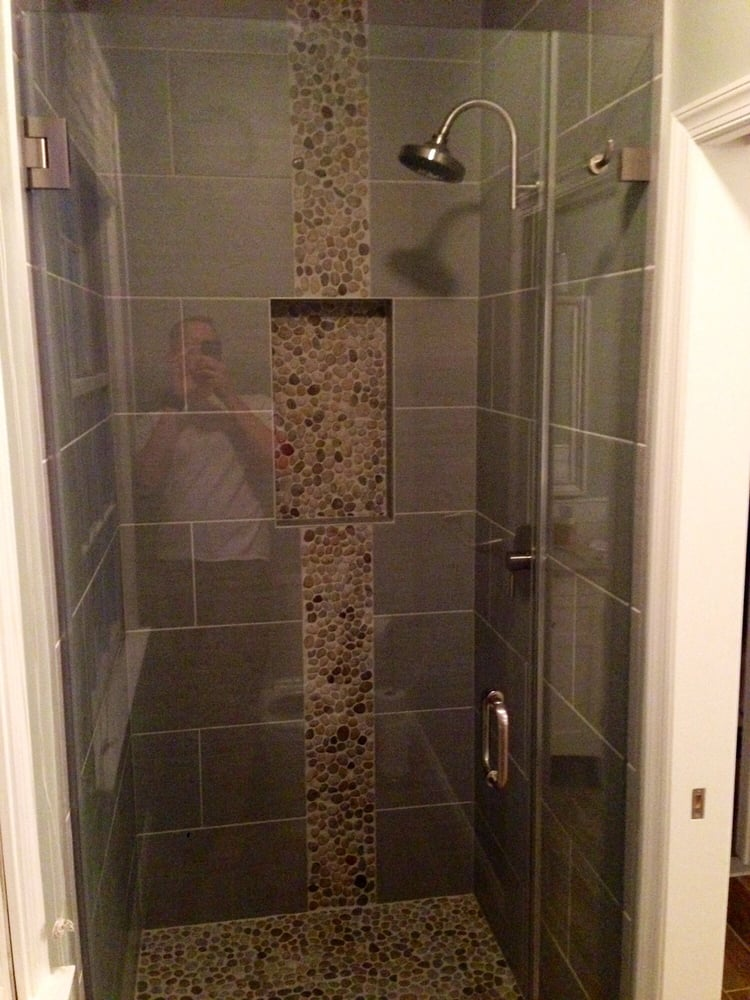 custom showers pro glass. Photo of Fairfax Glass Pro  chantilly VA United States New glass shower door with towel hook Brushed nickel hardware